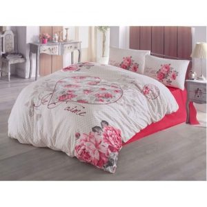 Lenjerie bumbac 3 piese Je T'aime Red PP1199