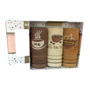 Set 3 prosoape bucatarie bumbac PRC33 Mocca 30x50cm