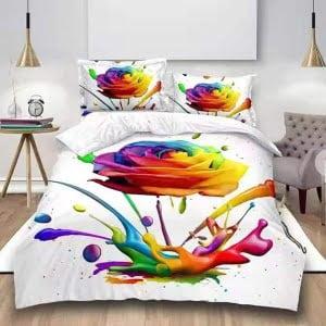 Lenjerie Digital PrintDP52 Roses-Rainbow