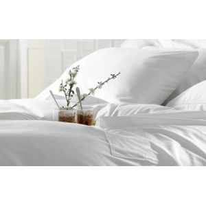 Lenjerie hoteliera dubla Ranforce DR07 100% bumbac alb perlat