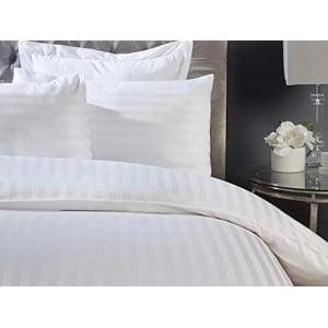 Lenjerie hoteliera single damasc dublu satinat lux DR04 alba